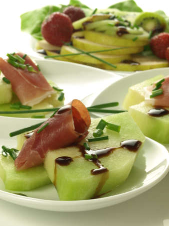 fruity salad: Melon with parma ham and fruit salad