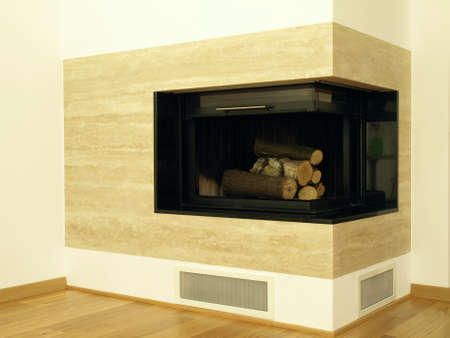 Modern travertine fireplace in the living room photo