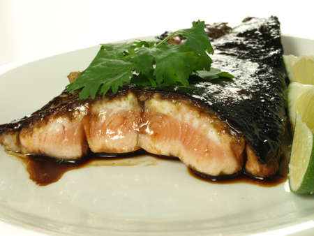 Prepared salmon fillet on a plate, isolated photo