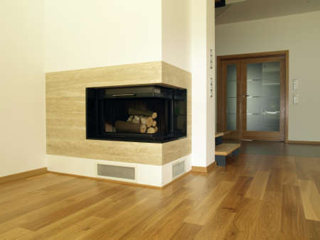 travertine house: Travertine fireplace in the modern house interior Stock Photo