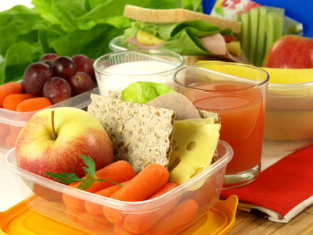 Portion of fruits and vegetables for healthy eating person photo