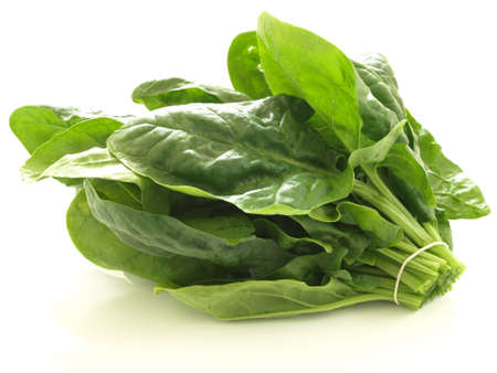 fresh spinach: Bunch of spinach leaves on isolated white background