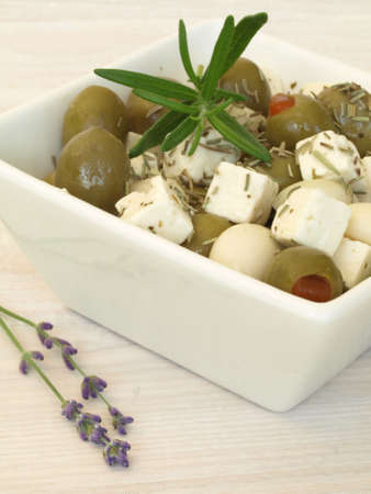 Greek salad with olives and cheese and lavender photo