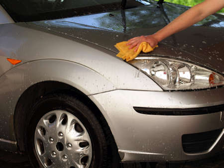 wash cloth: Washing car machine with cloth and foam Stock Photo