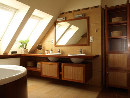 Interior of luxury bathroom with brown tiles photo