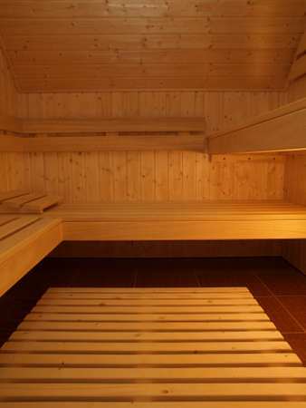 Sauna made from a wood, vertical view photo