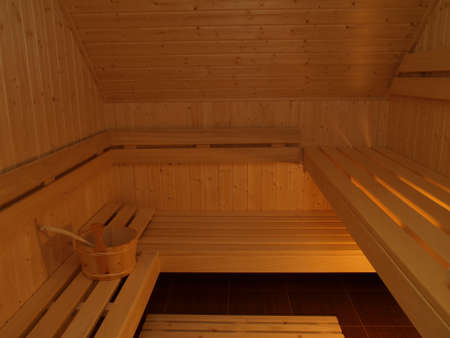 Sauna room and a special wooden equipment photo