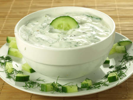 tzatziki: Sauce with yogurt and cucumber for starter Stock Photo