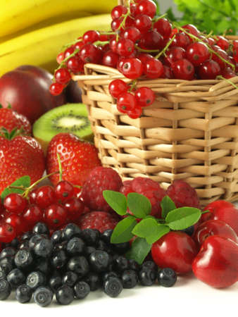 strawberry baskets: Different types of fruits from trees from garden
