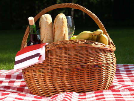 Basket for the outdoors picnic for two photo