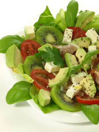 avocado: Seasonal summer salad with fresh fruits and veggies