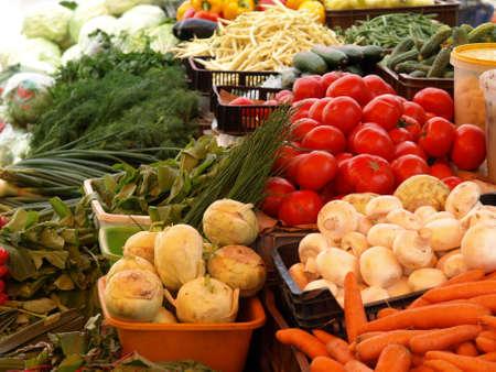 harvest basket: Outdoor grocery stall on farmer market, vegetables