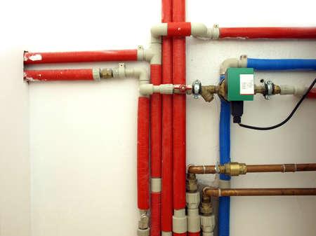 Piwnica: wodociąg w kotłowni Zdjęcie Seryjne
