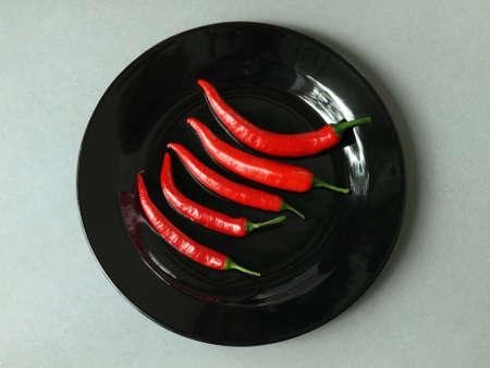bird eye view: Bird eye view of cayenne pepper on a plate
