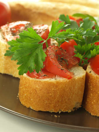 traditinal: Traditinal italian snack with tomatoes and herbs