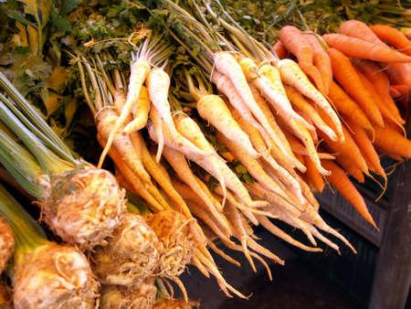 Fresh vegetables for soup on market stall photo
