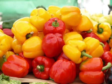 bell peppers: Closeup of heap of colorful bell peppers