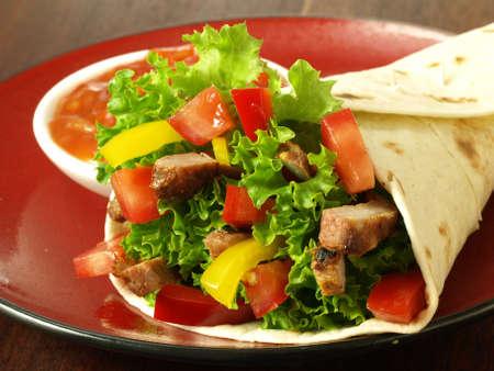 fajita: Mexican specialities: nachos, tomato dip and tortilla