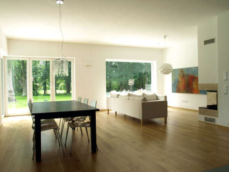 Interior of modern house, dining room, living room photo