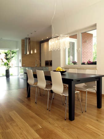 Dining room with dark table and bright chairs Stock Photo - 14509603