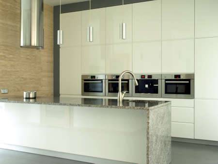 New and modern kitchen in bright colors photo