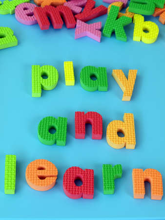 Children's puzzle: play and learn words, closeup photo