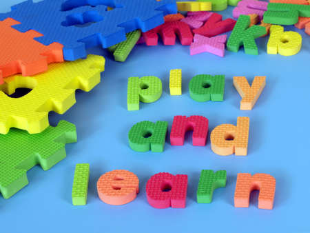 Words made with foam puzzle: play and learn photo