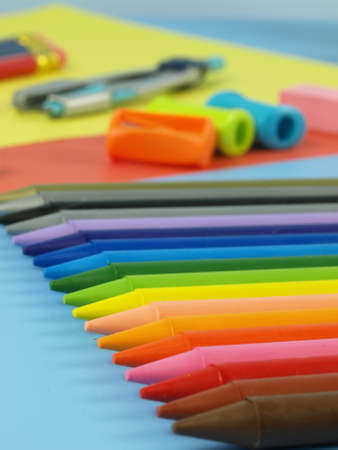 Children crayons- rainbow of colorful equipment Stock Photo - 14600877