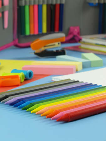 Closeup of colorful children accessories, crayons, paper Stock Photo - 14600876