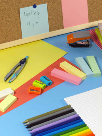 Closeup of colorful childish office equipment Stock Photo - 14600851