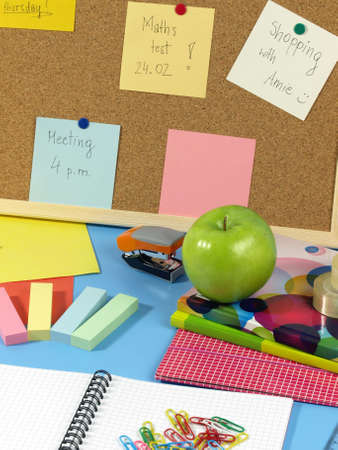Student place for work- notebook, pin board, accessories Stock Photo - 14600873