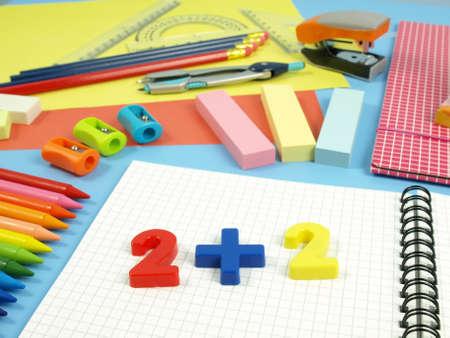Preparing to school, children notebook for math classes Stock Photo - 14600868