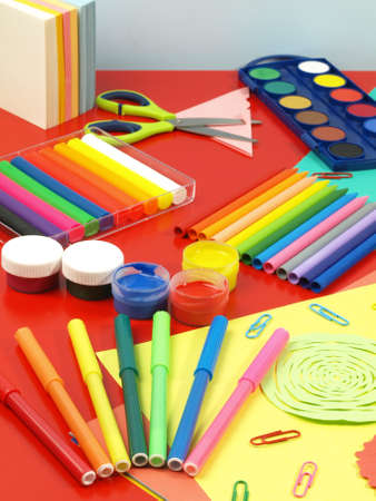Colorful equipment for children, child work place photo