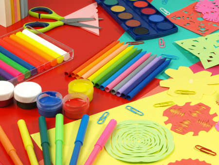 craft materials: Colorful paper-cut in children room