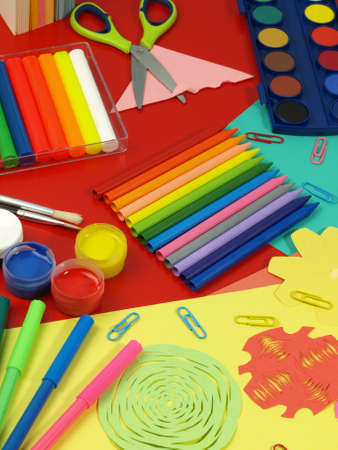 clay craft: Rainbow art equipment for the classes,children Stock Photo