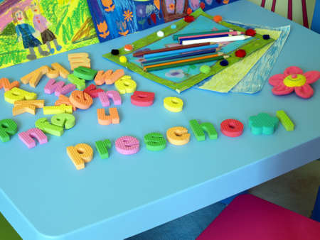 Colorful puzzle in child's preschool room Stock Photo - 14608641