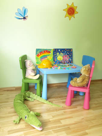 Modern childs room with equipment and toys
