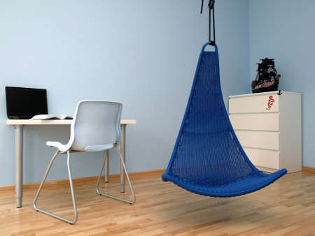 Modern blue teen room with a swing