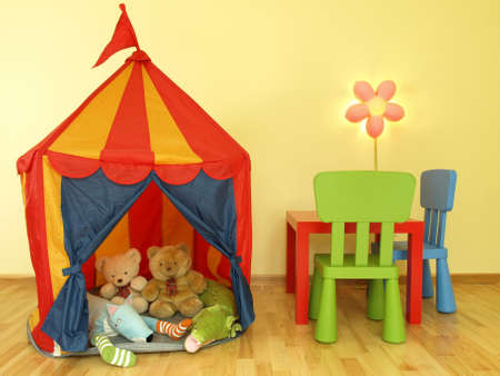 Children s tent with soft toys photo