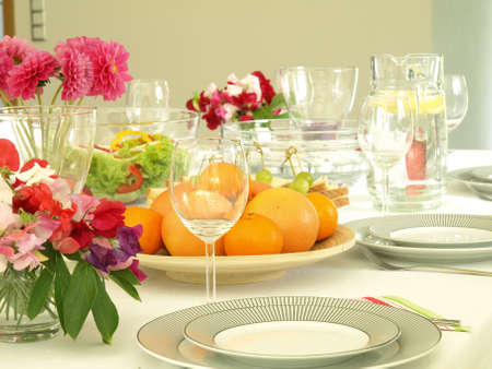 catering food: Table set for an event party or reception