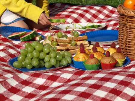 Children on picnic, healthy snacks and fruits photo
