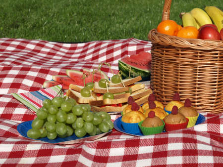 Garden party with summer fruits and healthy hors photo