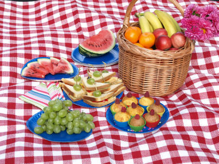 Summer picnic party, tasty nad healthy snacks photo