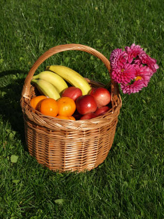 Basket of fruits on a grass, pink flower photo