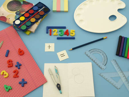 Colorful accesories for art and math classes photo