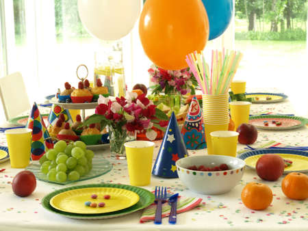 birthday balloons: Perfectly laid table for childrens birthday, balloons