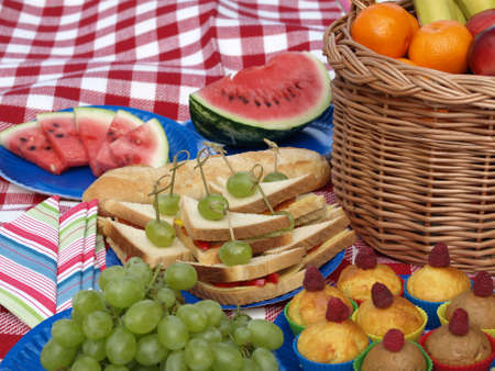 Closeup of delicious healthy snacks, grapes and watermelon photo