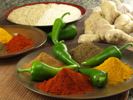 Plate with four types of indian spices Stock Photo - 14739657