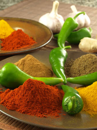 Heaps of pepper, turmeric, cumin and cinnamon Stock Photo - 14739663
