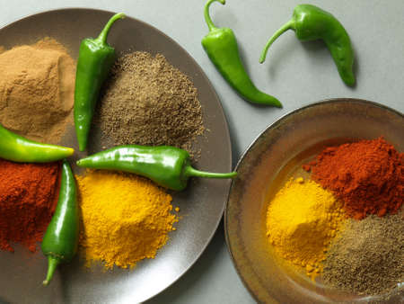 Bird eye view of hot indian spices photo